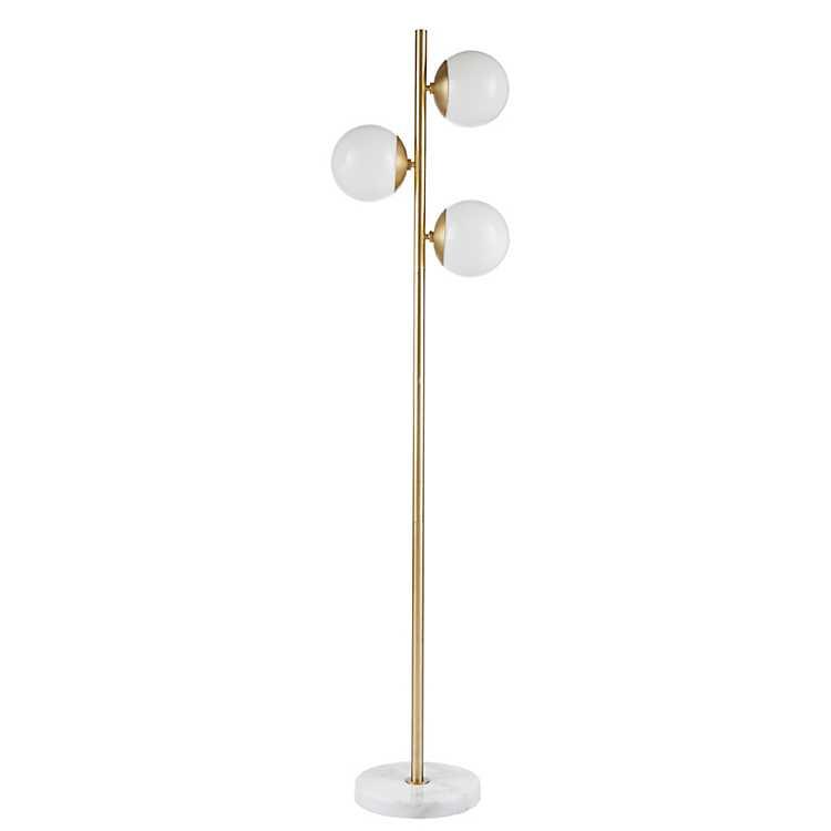 Haughton Gold Floor Lamp With White