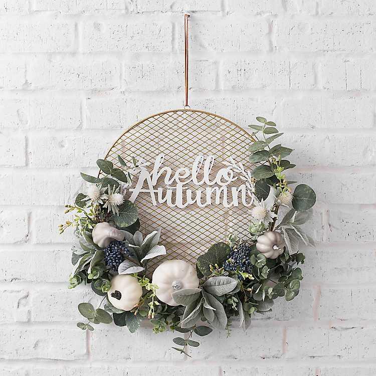 "NEW PUMPKIN /""Hello Fall/"" CARD PICTURE HOLDER Sign Table Decor Door Wreath Buffet"