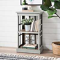 Gray Windowpane 2-Tier Shelf
