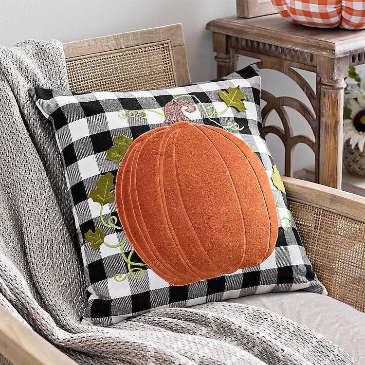 Orange Pumpkin Buffalo Check Pillow Kirklands