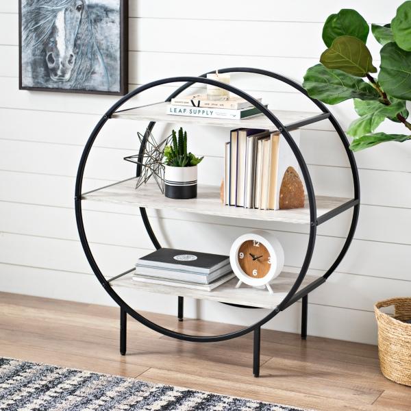 Logan White and Black 3-Tiered Circle Shelf