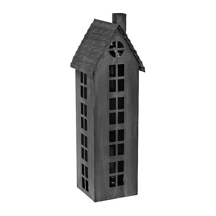 Black Galvanized Tall House Candle Holder Kirklands
