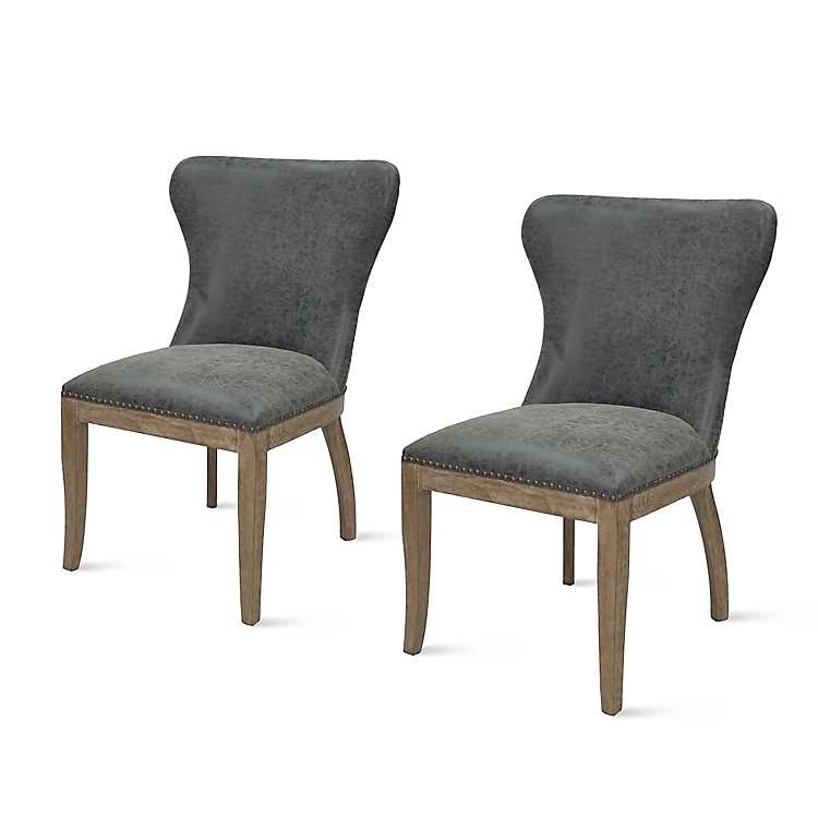 Gray Devon Faux Leather Dining Chairs Set Of 2 Kirklands