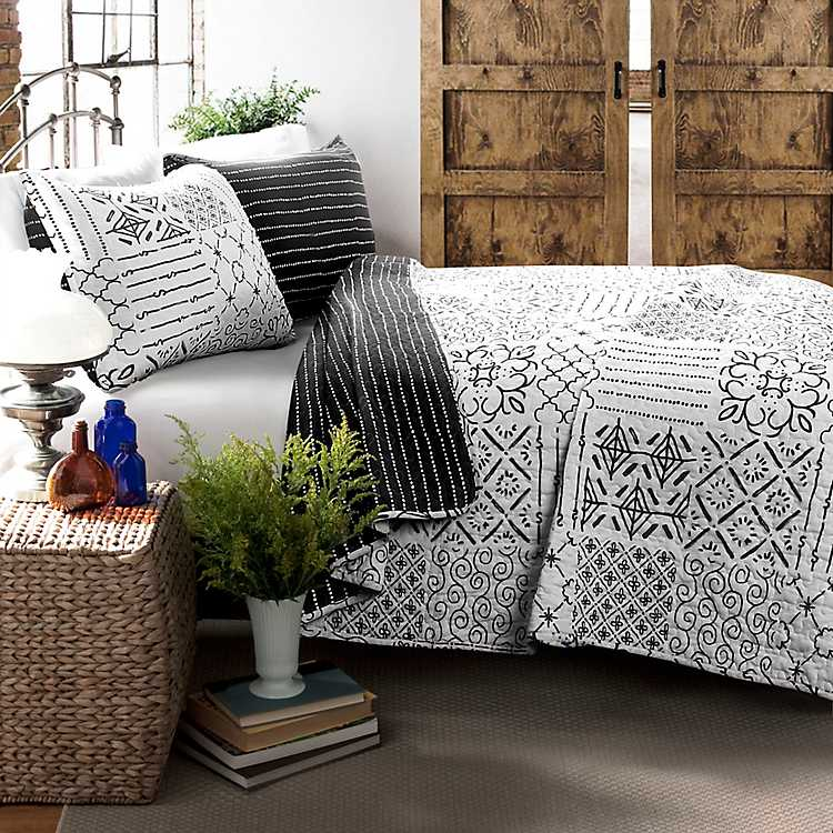 Charcoal Monique Patchwork 3 Pc King Quilt Set Kirklands