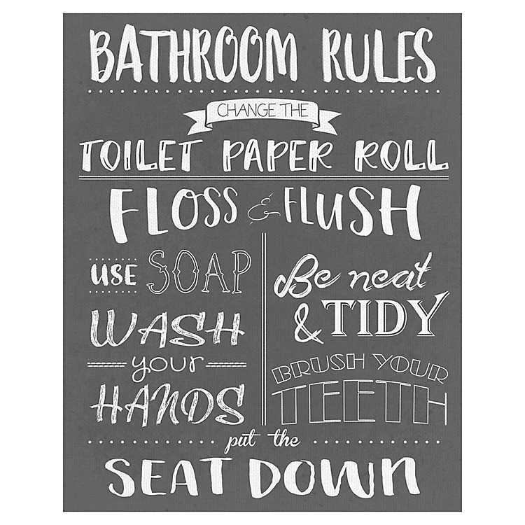 Bathroom Rules Wrapped Canvas Art Print Kirklands
