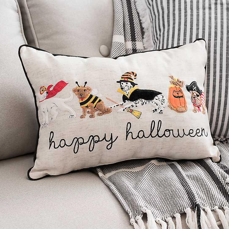 Dog Costume Party Embroidered Halloween Pillow Kirklands
