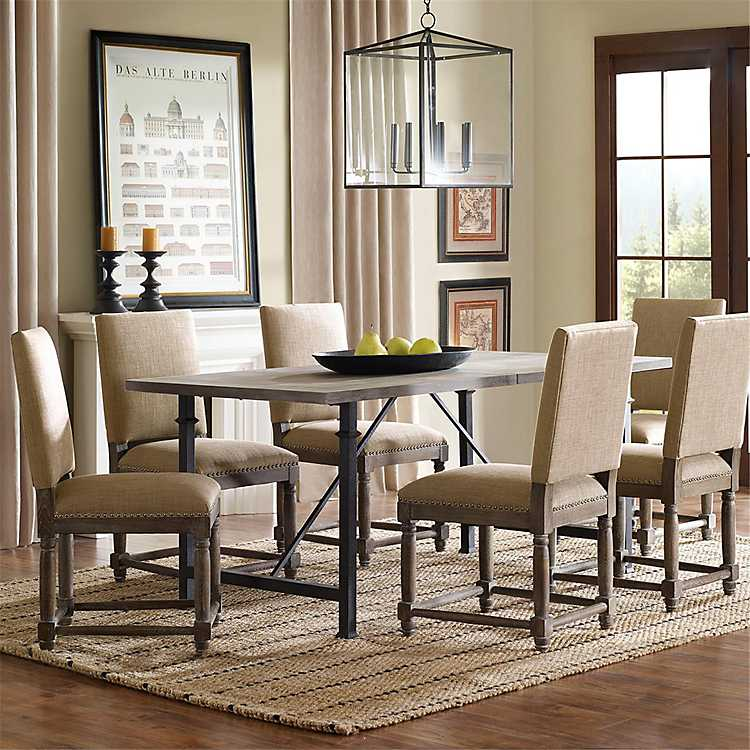 Reclaimed Wood Top Dining Table With, Dining Room Set Metal Legs