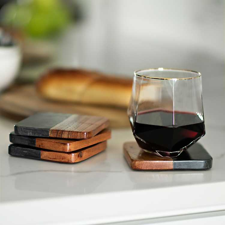 33 Set of 4 Red Marble Coasters