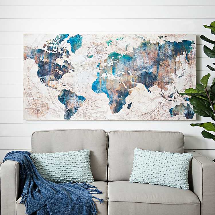 Canvas Map Of The World Large Celestial World Map Canvas Art Print | Kirklands