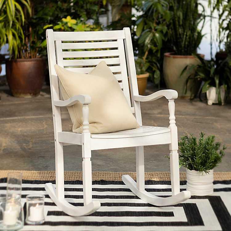 White Wash Wood Patio Rocking Chair, White Patio Furniture