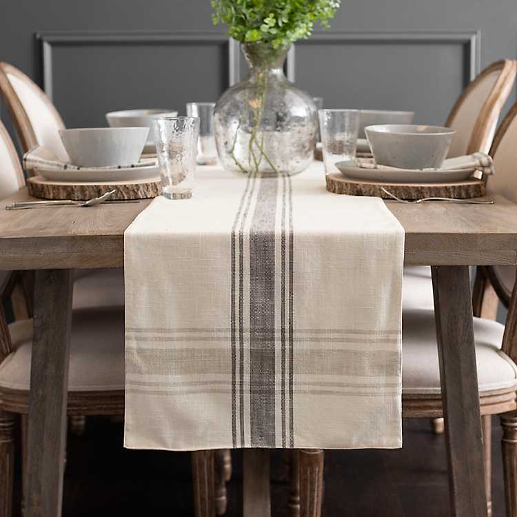 Charcoal Stripe Farmhouse Table Runner Kirklands