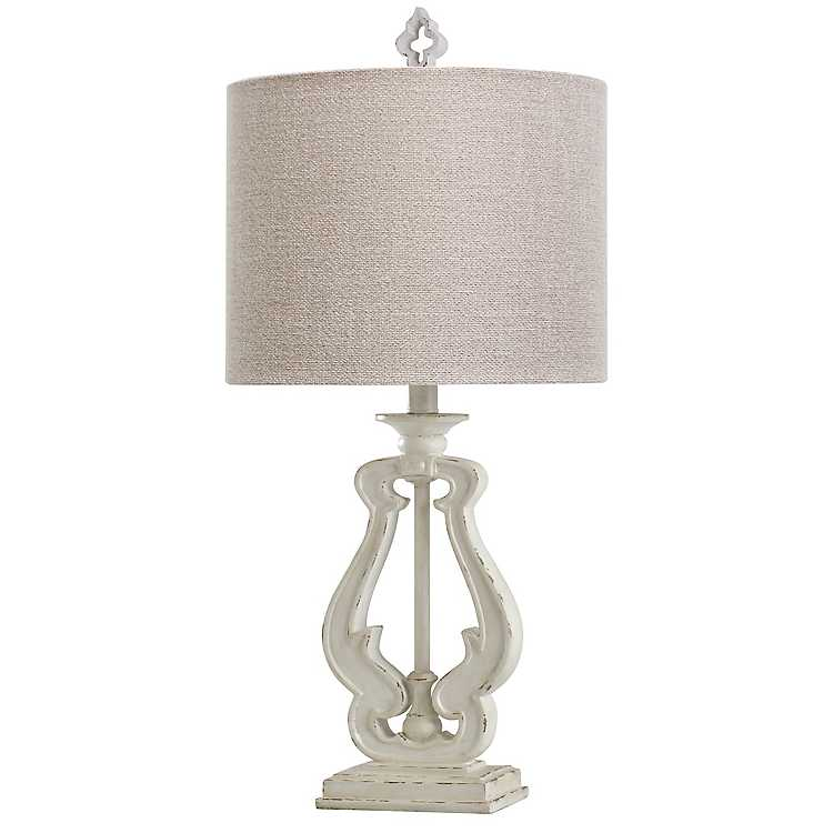 Distressed White French Farmhouse Table Lamp Kirklands