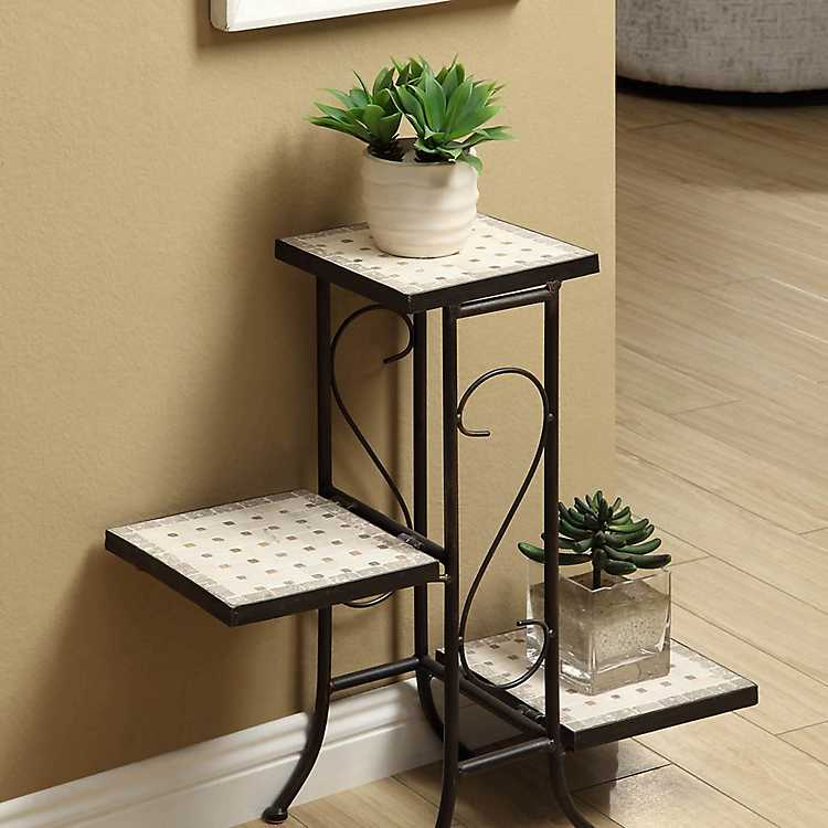 Three Tier Plant Stand With Travertine Top Kirklands