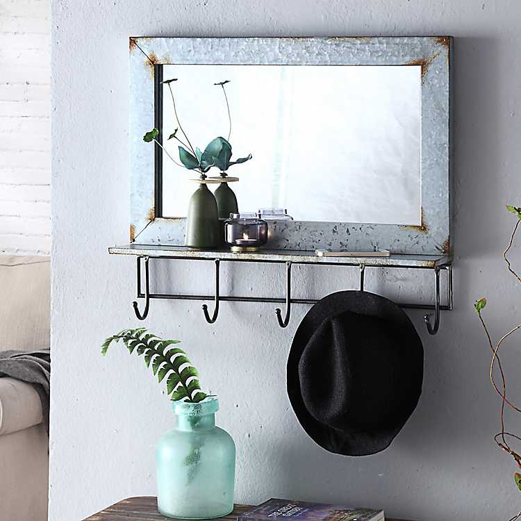 Abbott Rustic Wall Mirror With Shelf And Hooks Kirklands