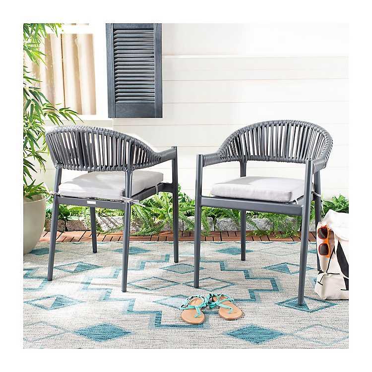 Grayton Rope Stackable Outdoor Chairs Set Of 2 Kirklands