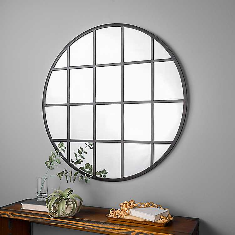 Round Windowpane Wall Mirror 40 In, 40 Round Mirror