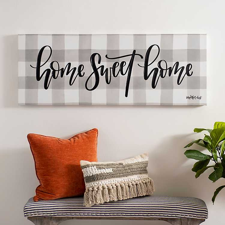 Home Sweet Home Sign Picture on Stretched Canvas Wall Art Décor Framed Ready to