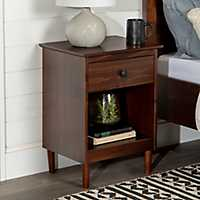 Walnut One-Drawer Wood Nightstand
