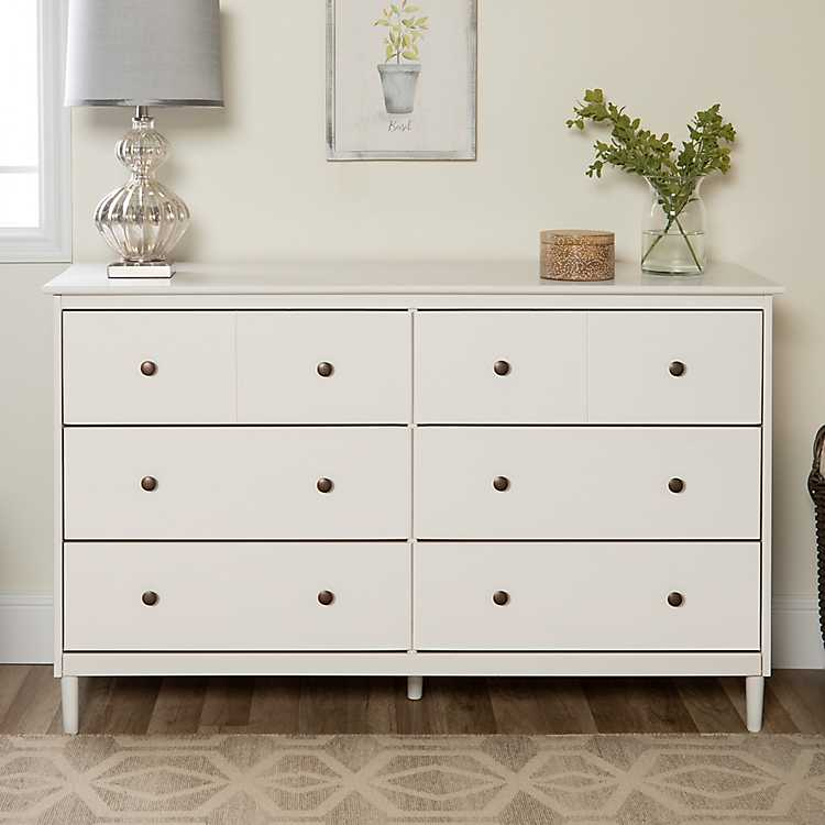 White Solid Wood 6 Drawer Dresser