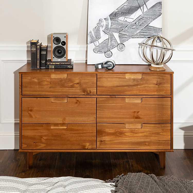 Caramel Mid Century Modern 6 Drawer Dresser Kirklands