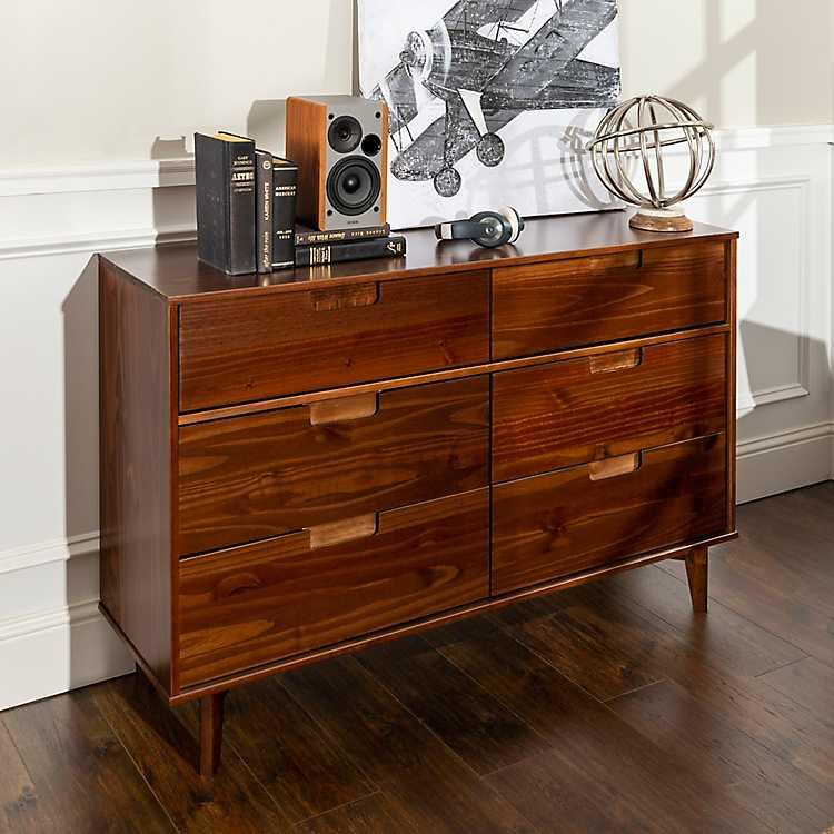 Walnut Mid Century Modern 6 Drawer Dresser Kirklands