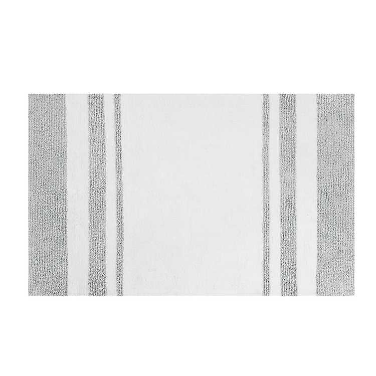 White with Gray Stripe Reversible Bath Mat, 45 in. | Kirklands
