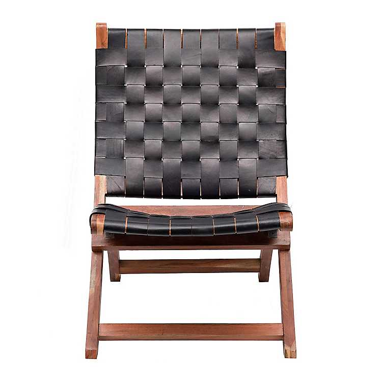 Black Leather Weave Chair