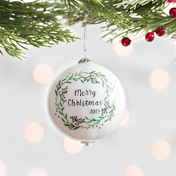 Hand Painted Merry Christmas 2019 Ornament Kirklands