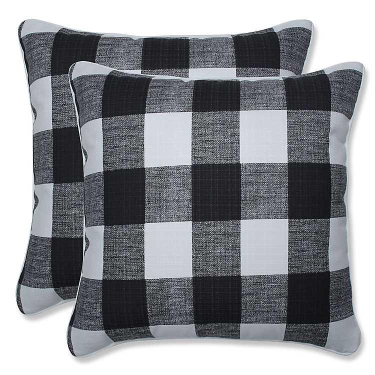 Black Buffalo Check Outdoor Pillows Set Of 2 Kirklands