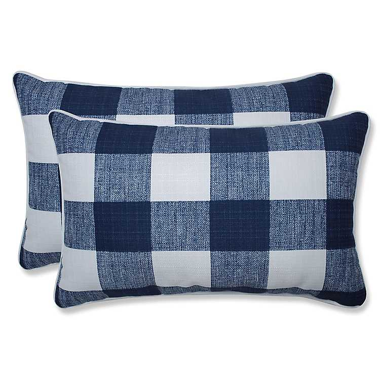 Navy Buffalo Check Lumbar Pillows Set Of 2 Kirklands