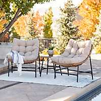 Two Papasan Chairs with Table 3-Pc. Patio Set