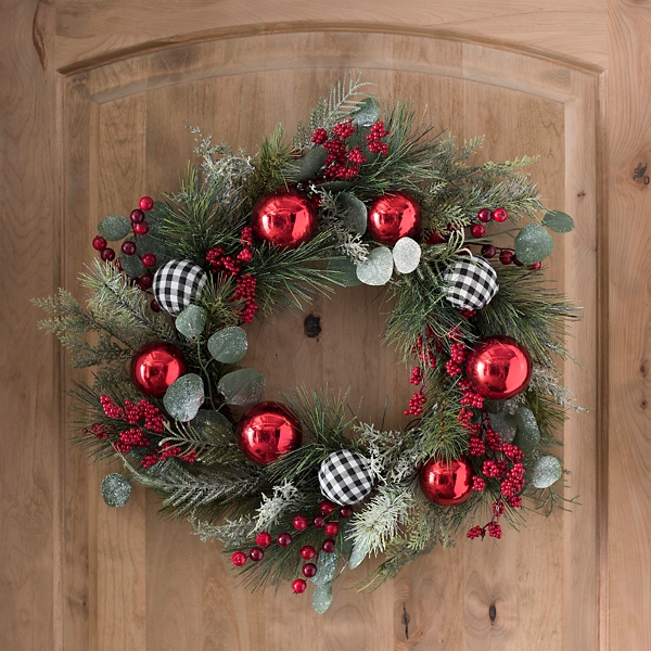 Ornaments And Mixed Greenery Christmas Wreath Kirklands