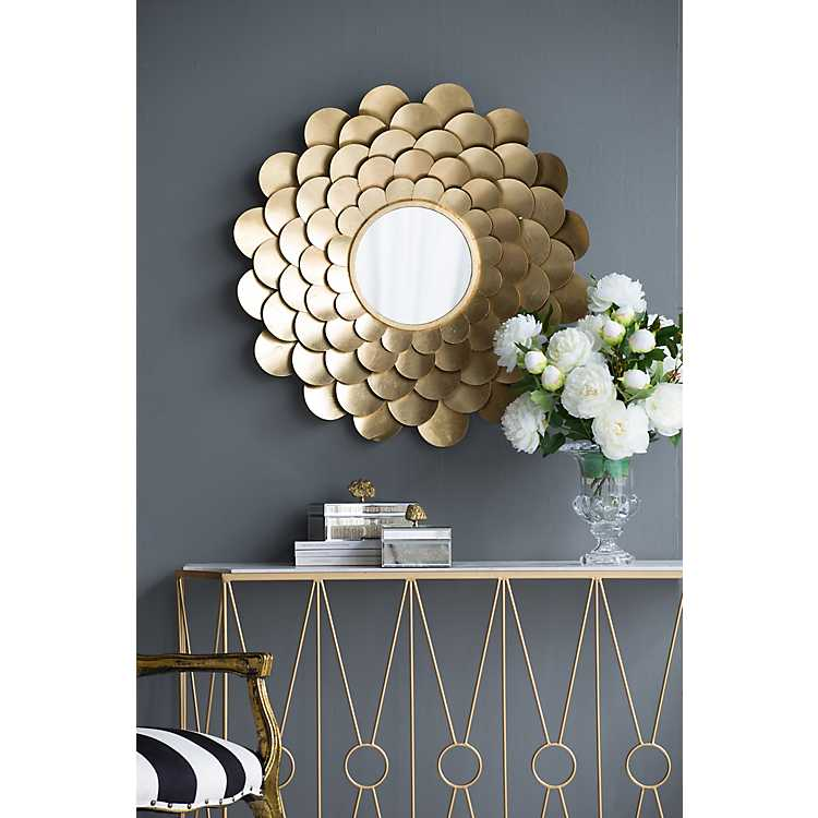 Round Gold Metal Petals Wall Mirror 31 5 In Kirklands
