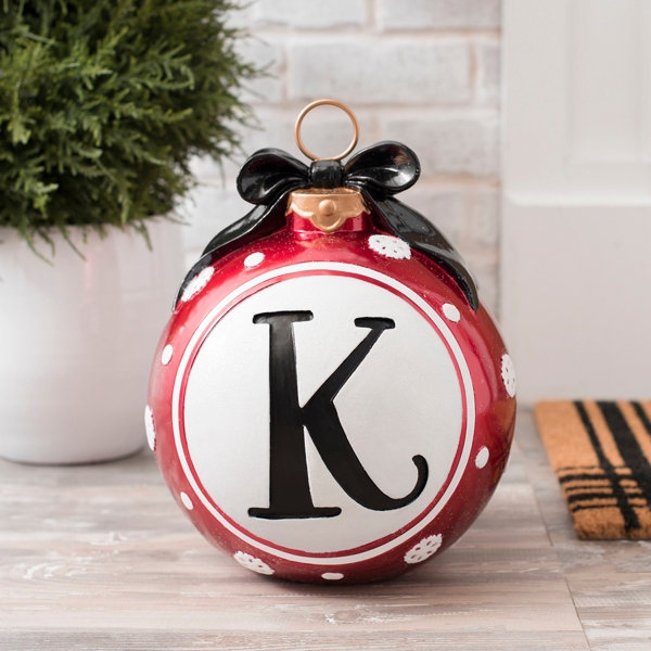 Snowflake And Bow Monogram K Ornament Statue Kirklands
