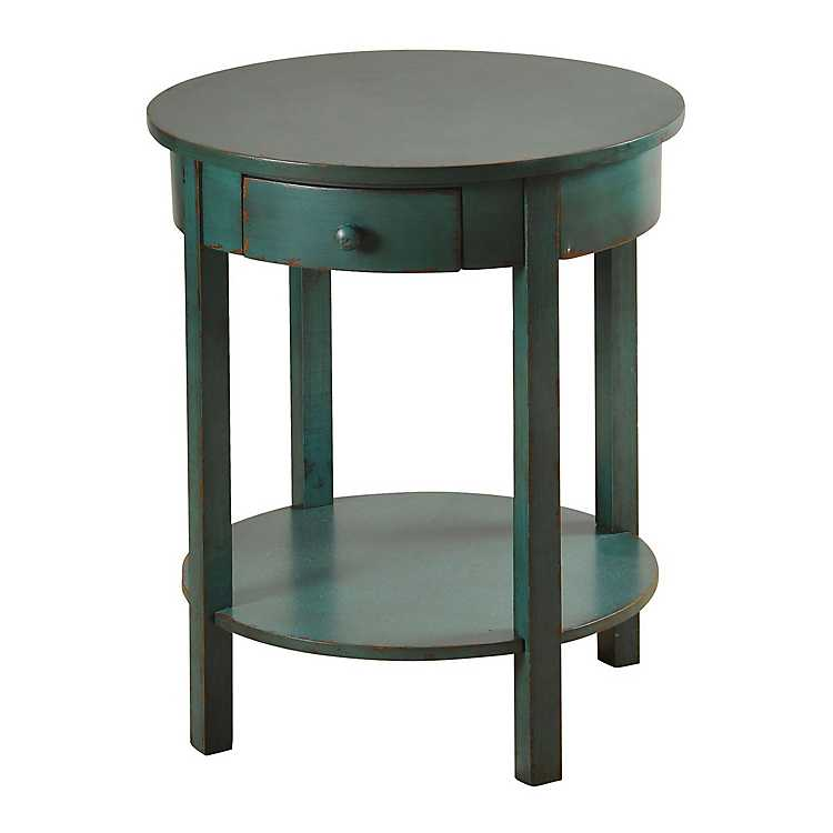 Round Blue Accent Table With Drawer, Small Round End Table With Drawer