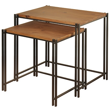 Wood Top Metal Frame Nesting Tables Set Of 2 Kirklands