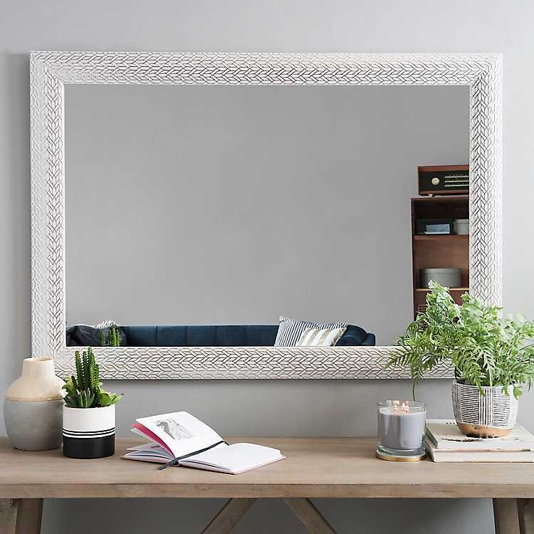 Brushed White With Silver Leaves Framed Mirror Kirklands