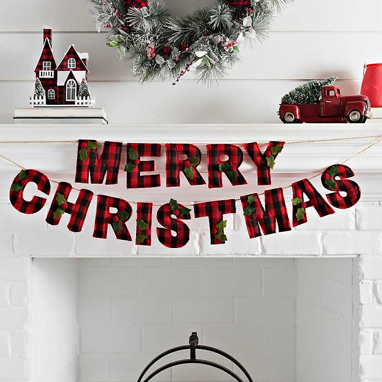 red buffalo check merry christmas banner kirklands red buffalo check merry christmas banner