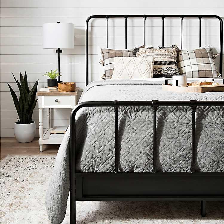 Black Metal Farmhouse Queen Bed Frame, Black Iron Bed Queen