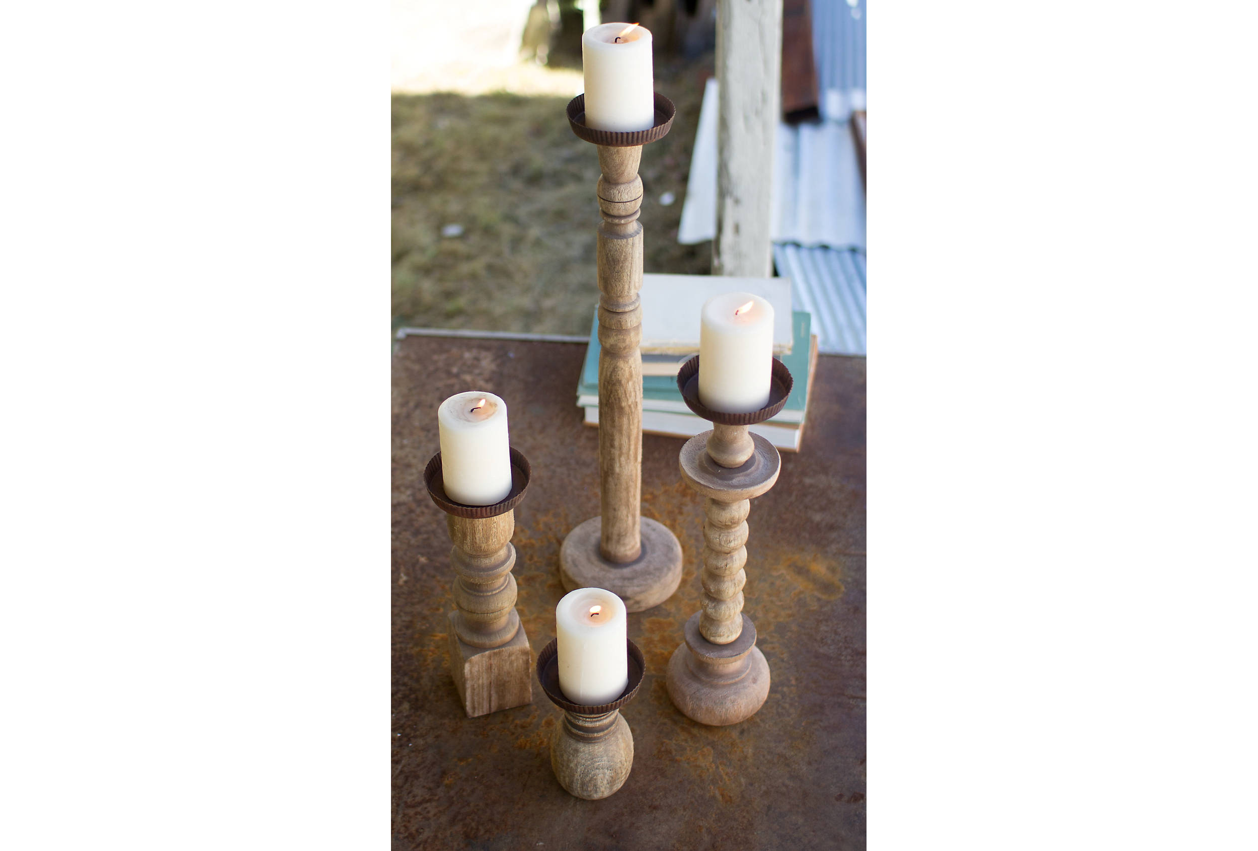 Shop Recycled Wood Turned Candle Holders, Set of 4 from Kirkland's on Openhaus