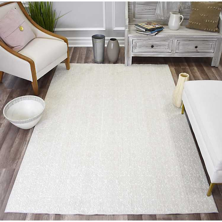 White Paloma Lace High Low Area Rug, White Living Room Rug