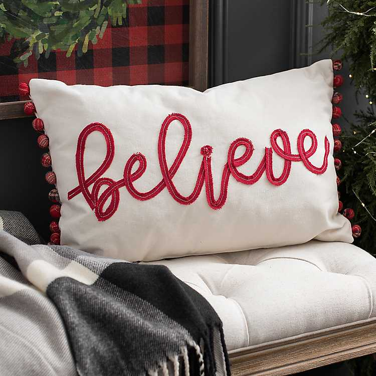 White And Red Believe Plaid Pom Accent Pillow Kirklands