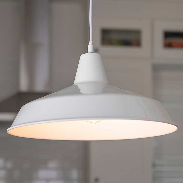 Farmhouse White Metal Pendant Light