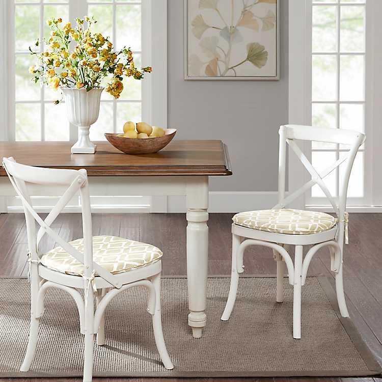 Tan Diamond Printed Chair Pads Set Of, Dining Room Chair Pads