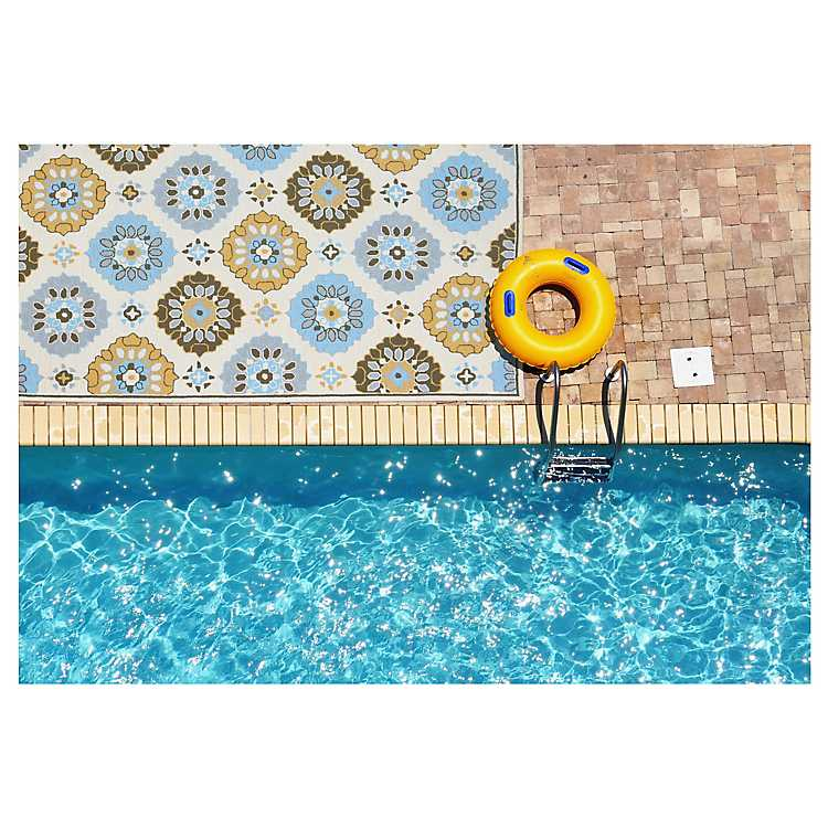 Yellow And Blue Patterned Outdoor Area Rug 5x8 Kirklands
