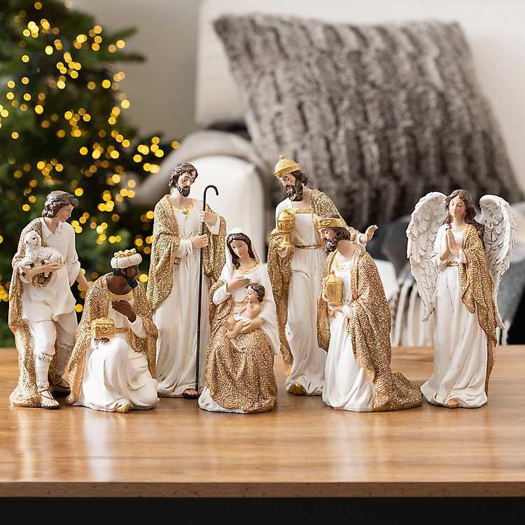 Cream And Gold Christmas Nativity Scene Set Of 7 Kirklands