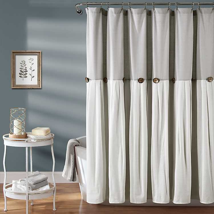 Gray And White Button Accent Linen Shower Curtain | Kirklands