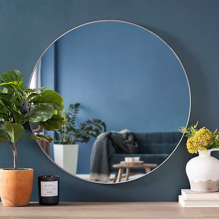 Silver Metal Linear Round Mirror 30 In, Round Silver Wall Mirror Metal