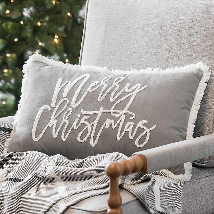 Gray Merry Christmas Accent Pillow Kirklands