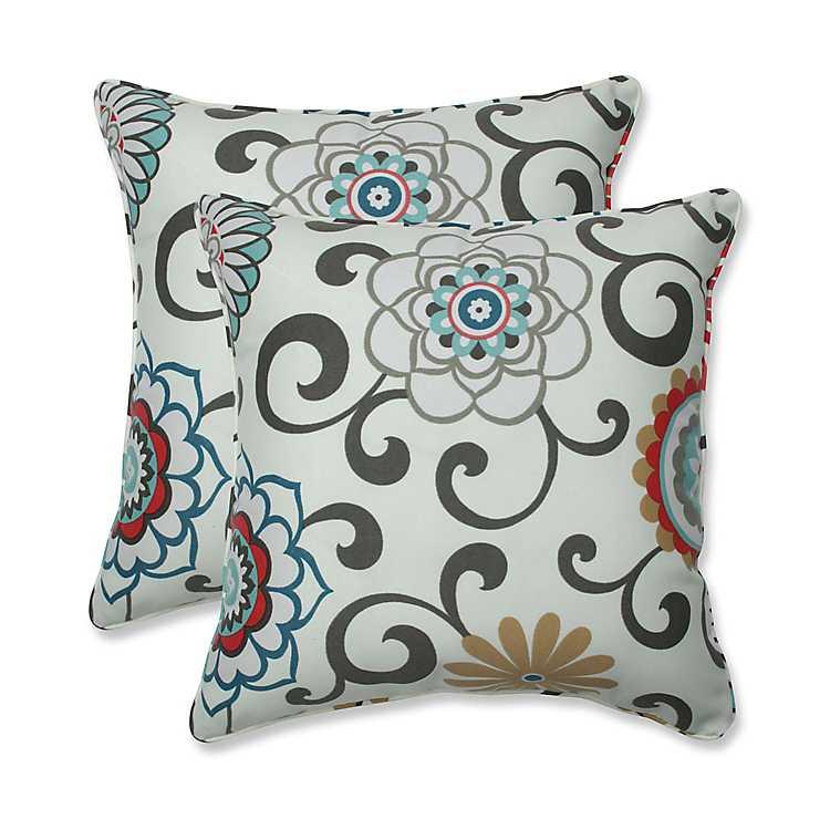 Peachtini Pom Play Outdoor Pillows Set Of 2 Kirklands